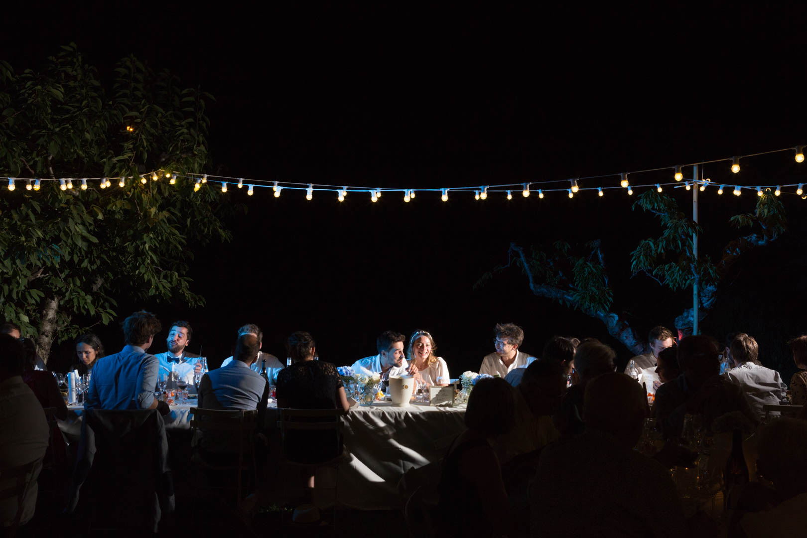 photo de groupe durant le diner de mariage à l'abbaye de Saint Eusebe